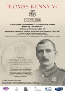 Poster for unveiling of Thomas Kenny VC commemorative paving stone