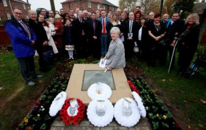 Patricia Shaw attends the service of dedication of a commemorative stone in memory of Grandfather VC (Victoria Cross) medal winner Thomas Kenny at Wheatley Hill Cemetery in County Durham with members of her family Picture: DAVID WOOD